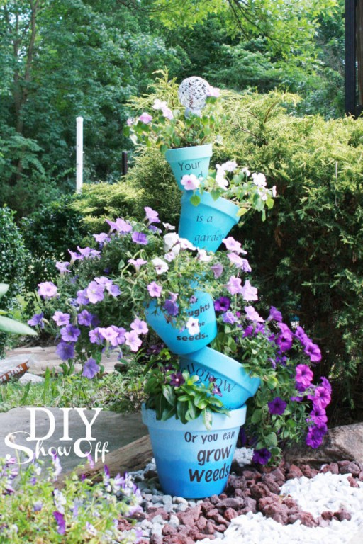 HOw to make beautiful stacked flower pot step by step DIY instructions