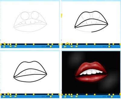 How to draw a graffiti cartoon lip step by step DIY instructions