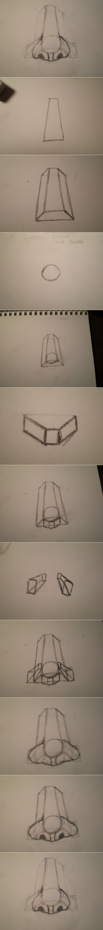 How to draw a nose step by step DIY instructions