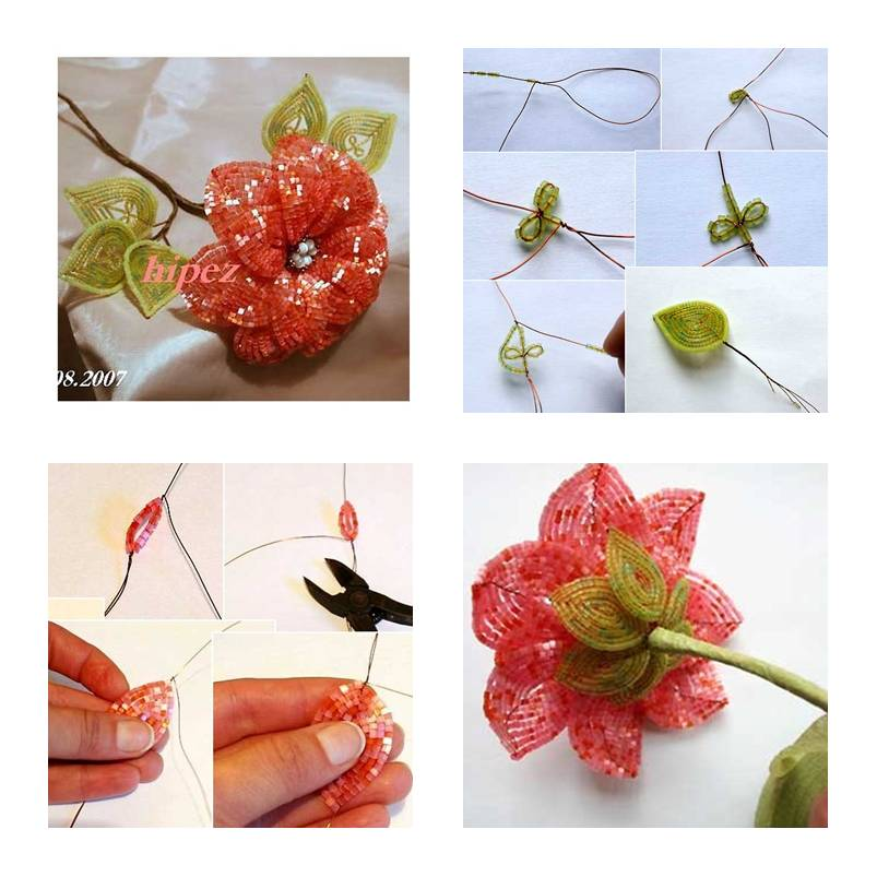 How to make Beads Apricot Flower step by step DIY instructions thumb