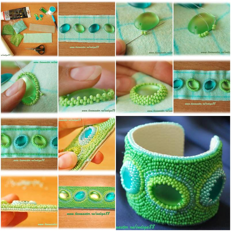 How to make Beads Mint Bracelet step by step DIY instructions thumb