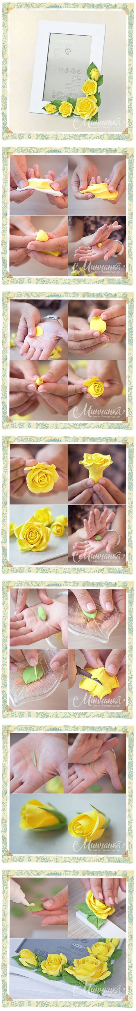 How to make Beautiful Clay Yellow Rose step by step DIY instructions
