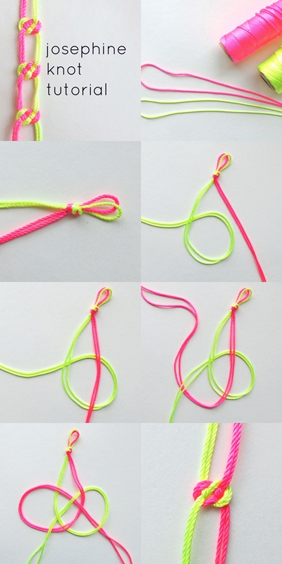 How to make colorful josephine knot step by step DIY instructions
