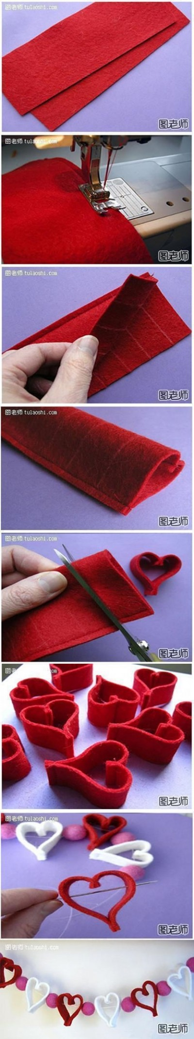How to make cute heart decoration string step by step DIY instrutions