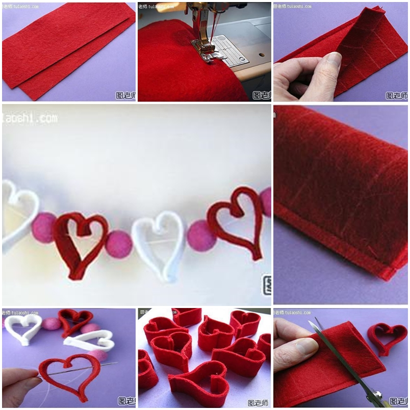 How to make cute heart decoration string step by step diy for Handmade decoration things step by step