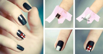 How to make gift box nail art step by step DIY instructions