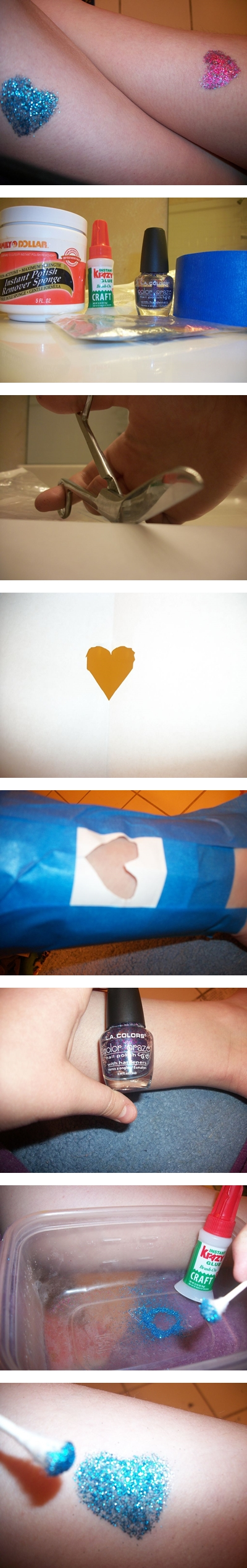 How to make heart shape glitter tattoo step by step DIY instructions