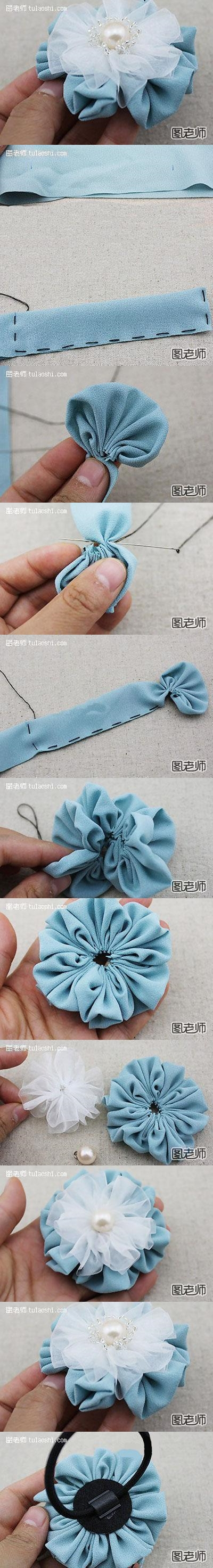 How to make lovely blue hair flower step by step DIY instructions