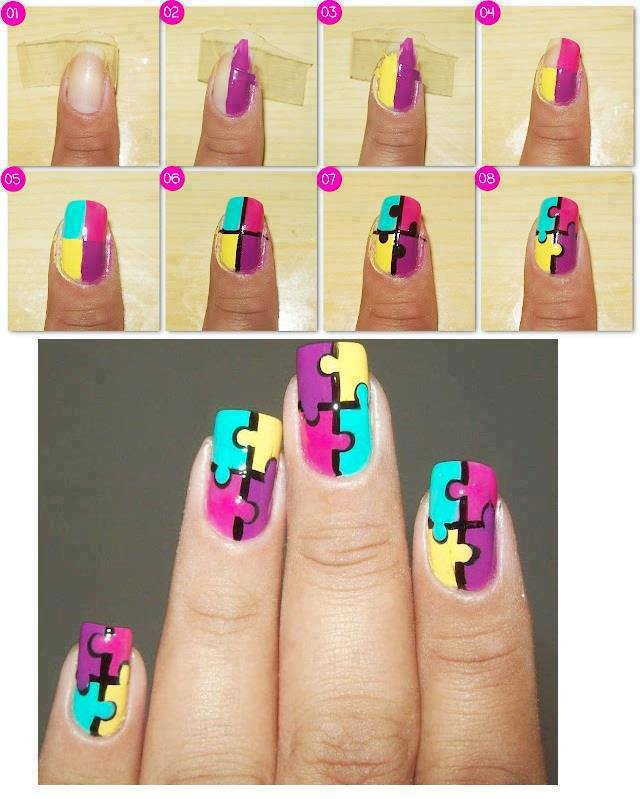 Step By Step Nail Art Using Tape: How To Make Puzle Nail Art Step By Step DIY Instructions