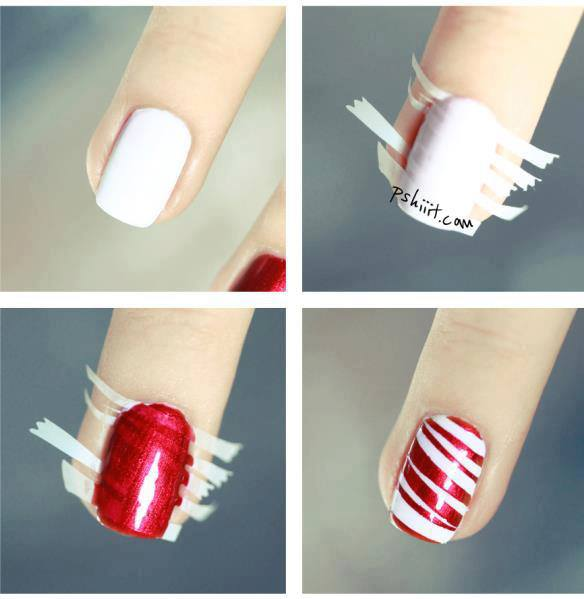 How To Make Red Stripe Nail Art Step By Step DIY