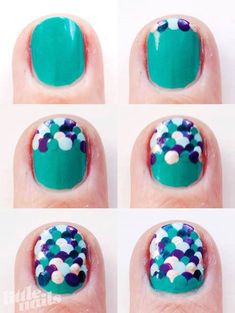 How to make scales nail art step by step DIY instructions
