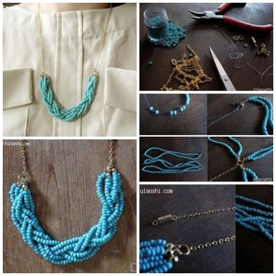 How to make uique blue beads necklace step by step DIY instructions