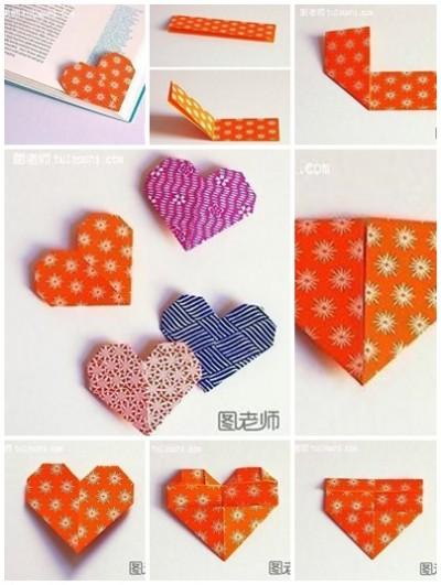 How to make your own lovely heart shape bookmark step by step DIY instructions
