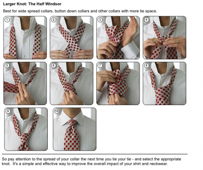 How to tie a large knot tie the Half Windsor step by step DIY instructions