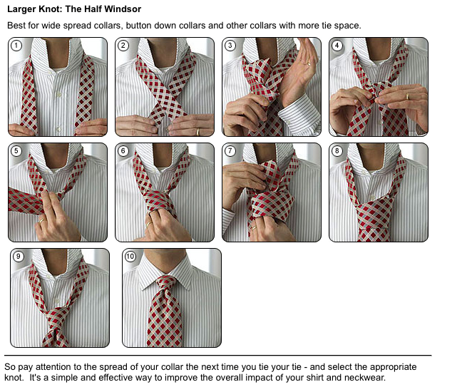 How to tie a large knot tie the Half Windsor step by step ...