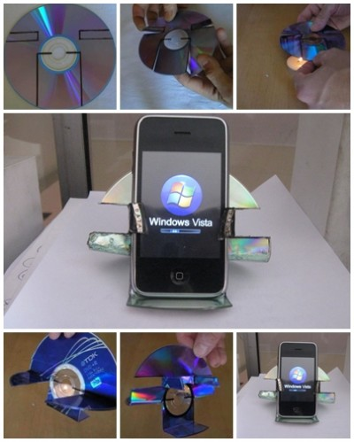 How to use recycled CD to make your own simple iphone holder step by step DIY tutorial instructions
