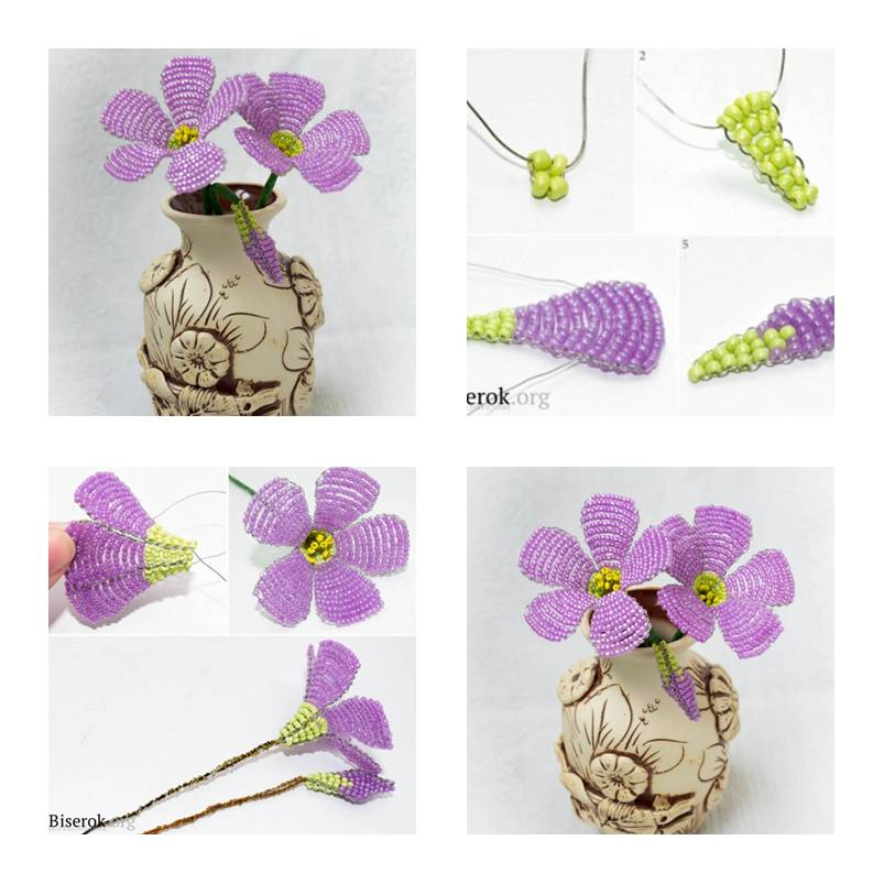 Hwo To Make Beads Purple Flower Step By Step Diy