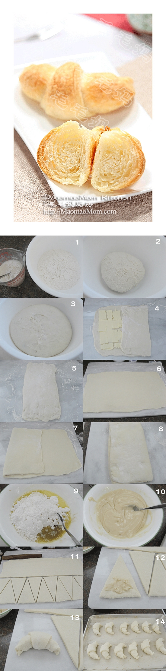 how to make Sweet French Croissants step by step DIY instructions