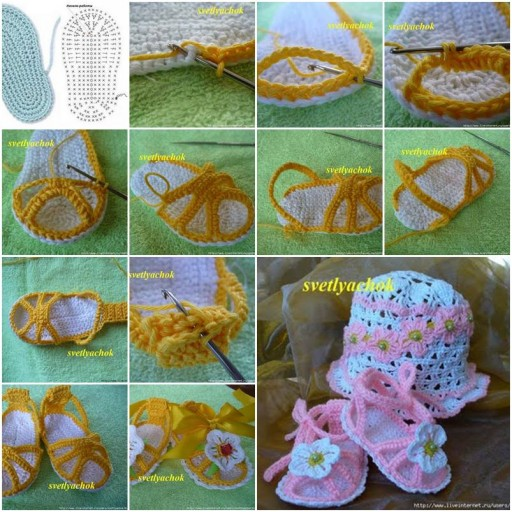 Crochet Baby Hat Tutorial Step By Step : How To Crochet Baby Sandal step by step DIY tutorial ...