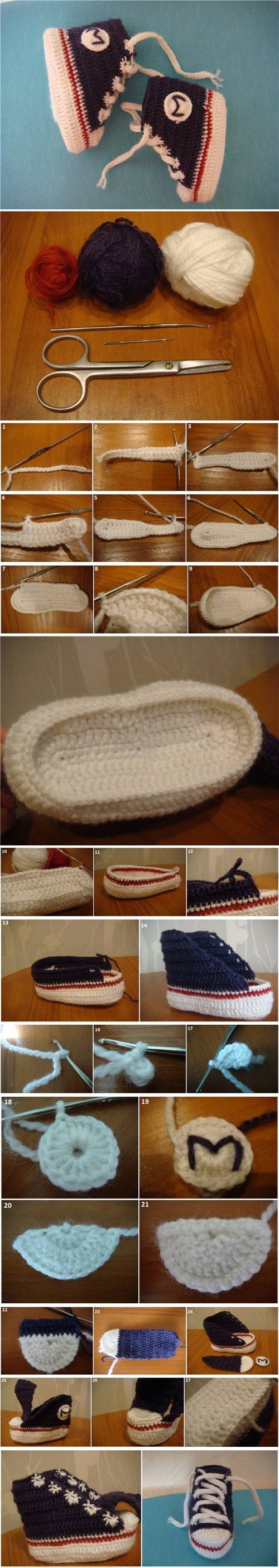 How To Crochet Tennis Booties step by step DIY tutorial instructions
