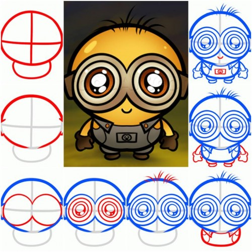 How To Draw a Chibi Minion step by step DIY tutorial instructions thumb