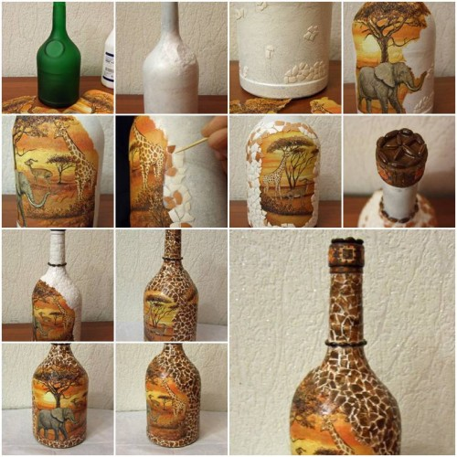How to make african motif bottle step by step diy tutorial instructions how to instructions Diy home decor crafts pinterest
