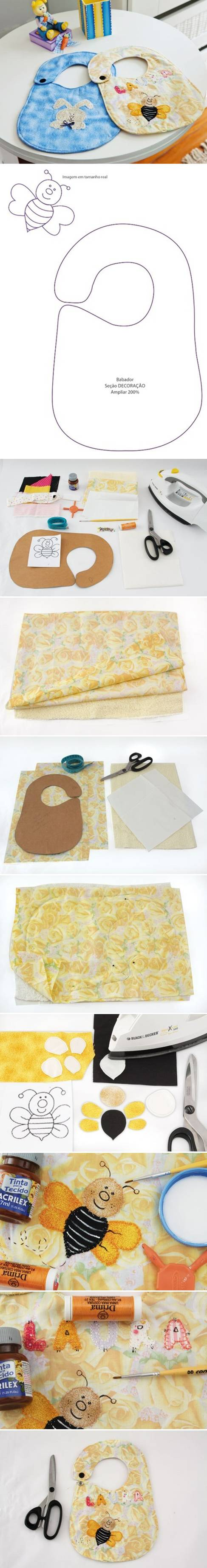 How To Make Baby Bibs step by step DIY tutorial instructions