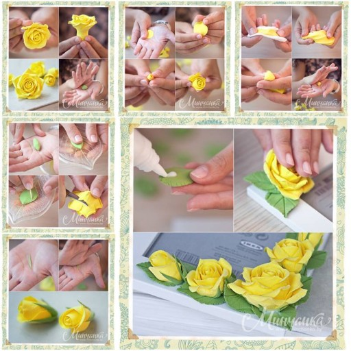 How To Make Beautiful Clay Yellow Rose step by step DIY tutorial instructions thumb