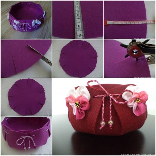How to make beautiful felt basket step by step diy for Handmade things step by step