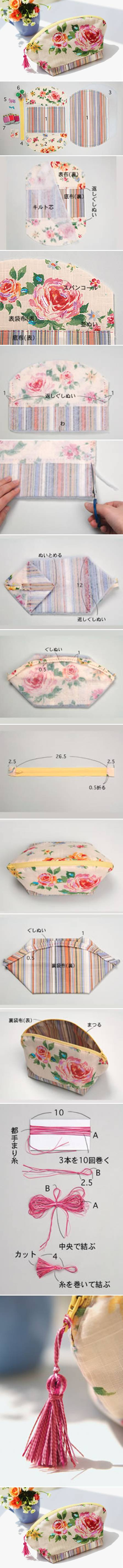 How To Make Beautiful Makeup Pouch step by step DIY tutorial instructions