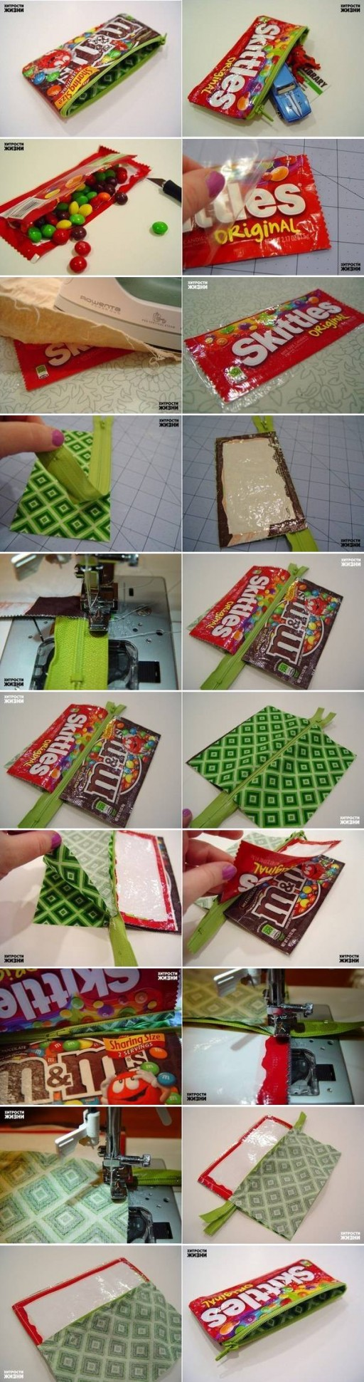 How To Make Candy Wrap Pencil Case step by step DIY tutorial instructions