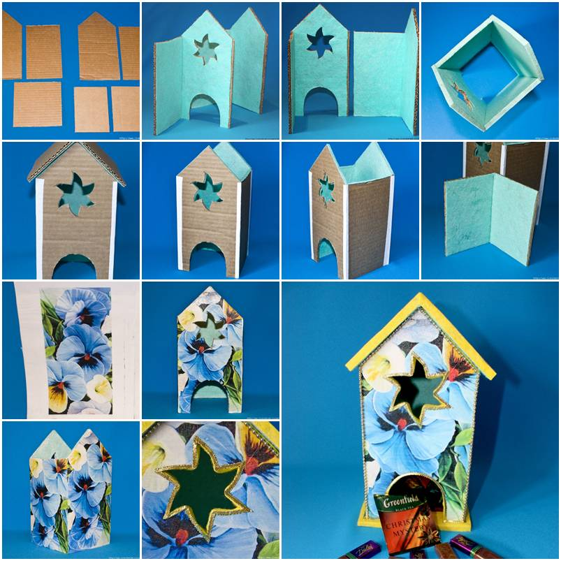 How to make cardboard house tea bag dispenser step by step for How to build a house step by step instructions