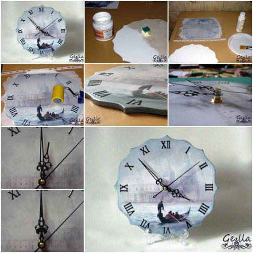 How To Make Clock Decoupage step by step DIY tutorial instructions thumb