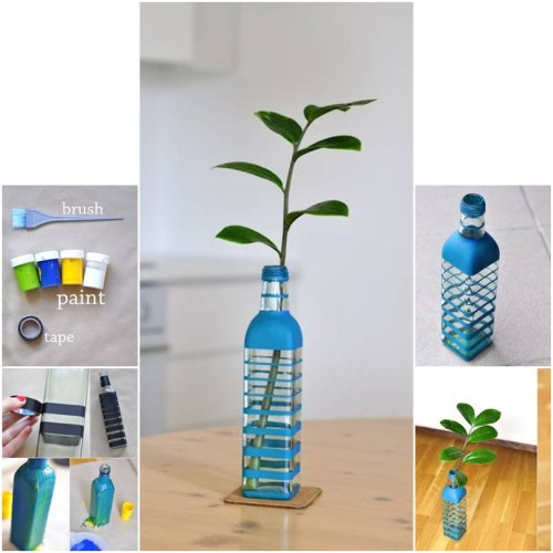 How To Make Colored Bottle Vase step by step DIY tutorial instructions thumb