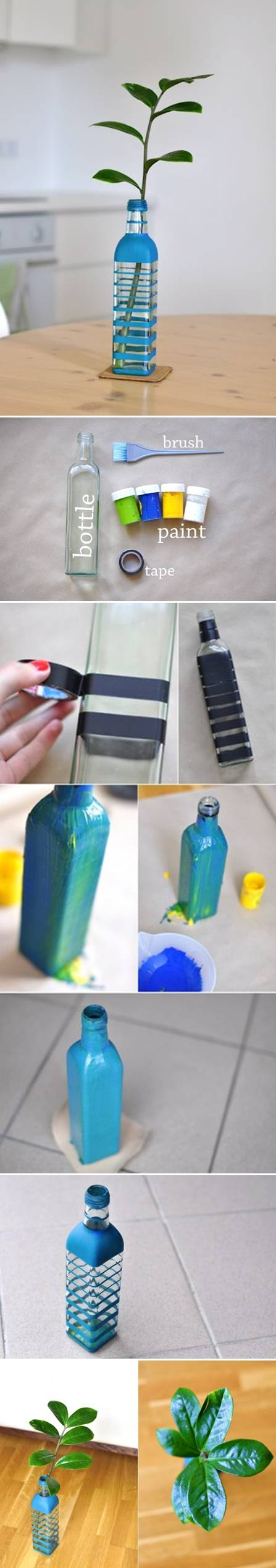 How To Make Colored Bottle Vase step by step DIY tutorial instructions