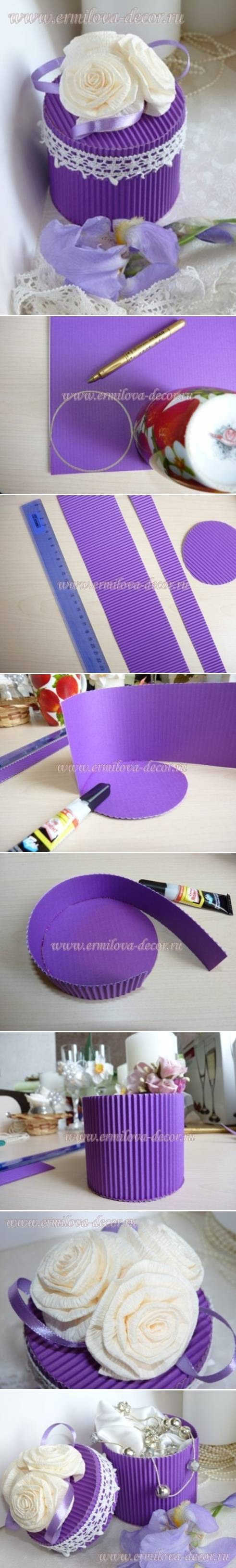 How To Make Corrugated Paper Gift Box step by step DIY tutorial instructions