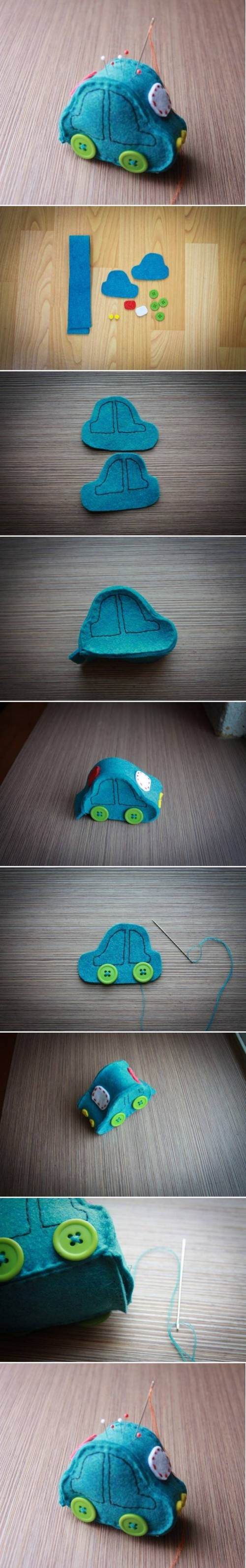 How To Make Cute Car Pincushion step by step DIY tutorial instructions