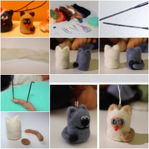 How To Make Cute Felting Wool Cat step by step DIY tutorial instructions thumb