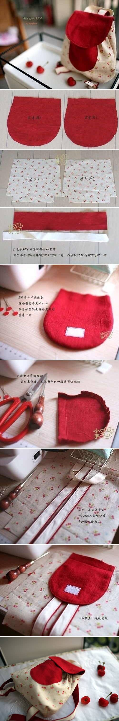 How To Make Cute Little Backpack step by step DIY tutorial instructions