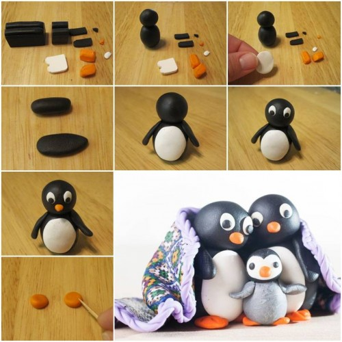 How To Make Cute Polymer Clay Penguin step by step DIY tutorial instructions thumb