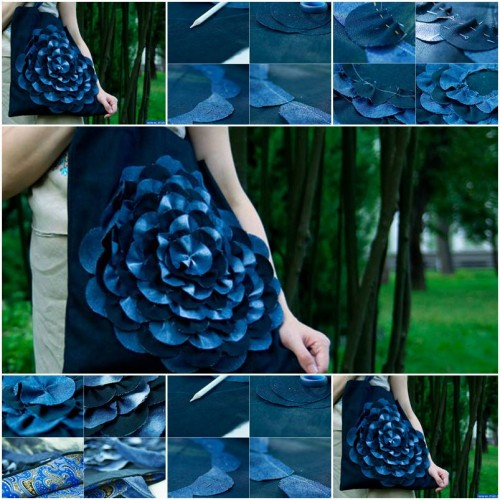 How To Make Denim Flower Bag step by step DIY tutorial instructions thumb