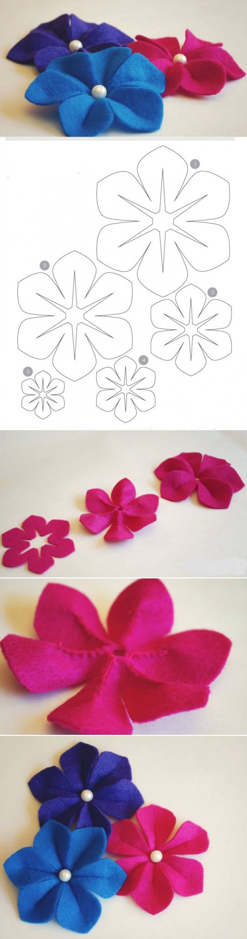How To Make Easy Felt Flower step by step DIY tutorial instructions