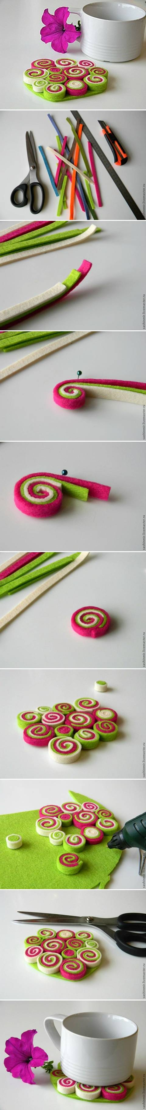 How To Make Felt Coaster step by step DIY tutorial instructions