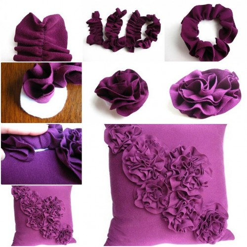 How to make flower pillow decoration step by step diy for Handmade flowers for decoration step by step