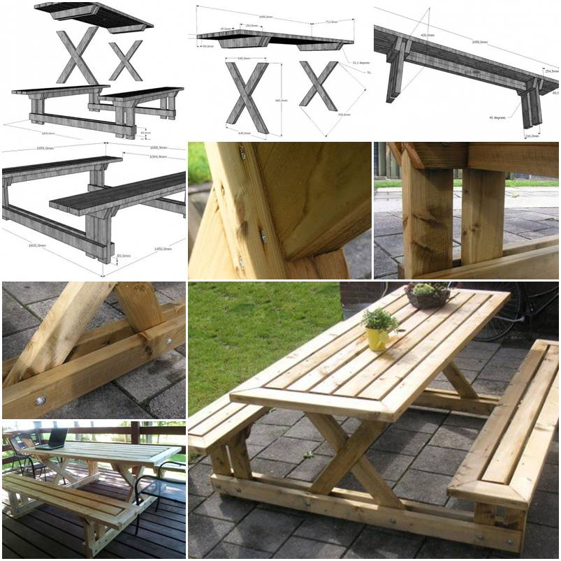 How to make garden bench and table step by step diy for Step by step to build a house yourself