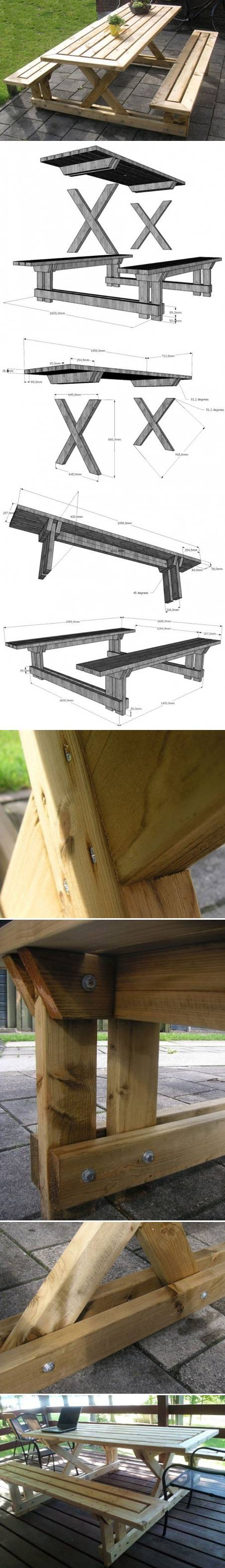 How to Make Garden Bench and Table step by step DIY tutorial instructions