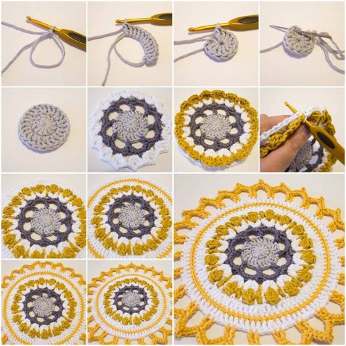 How to Make Handmade Crochet Mandala step by step DIY tutorial instructions thumb