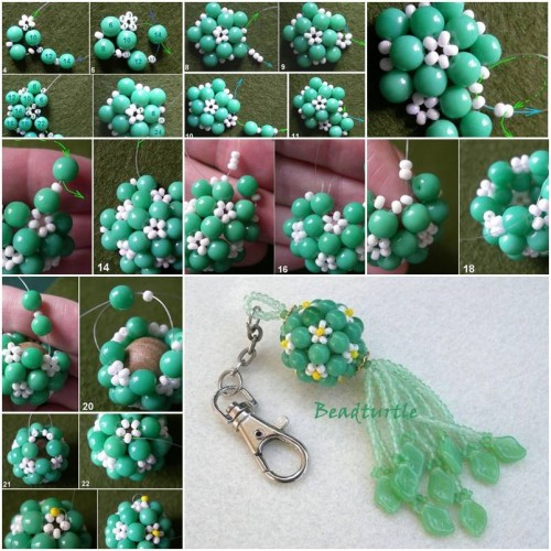 How to Make Key Chain Beads Charm step by step DIY tutorial instructions thumb