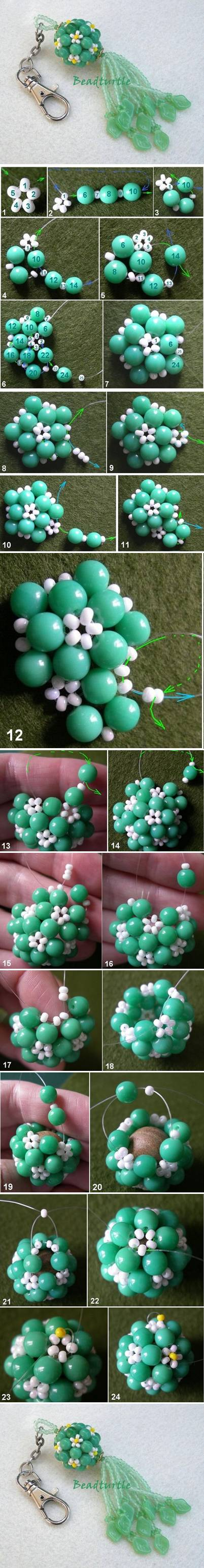 How to Make Key Chain Beads Charm step by step DIY tutorial instructions