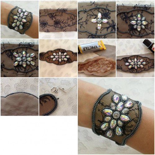 How to Make Lace and Beads Bracelet step by step DIY tutorial instructions thumb
